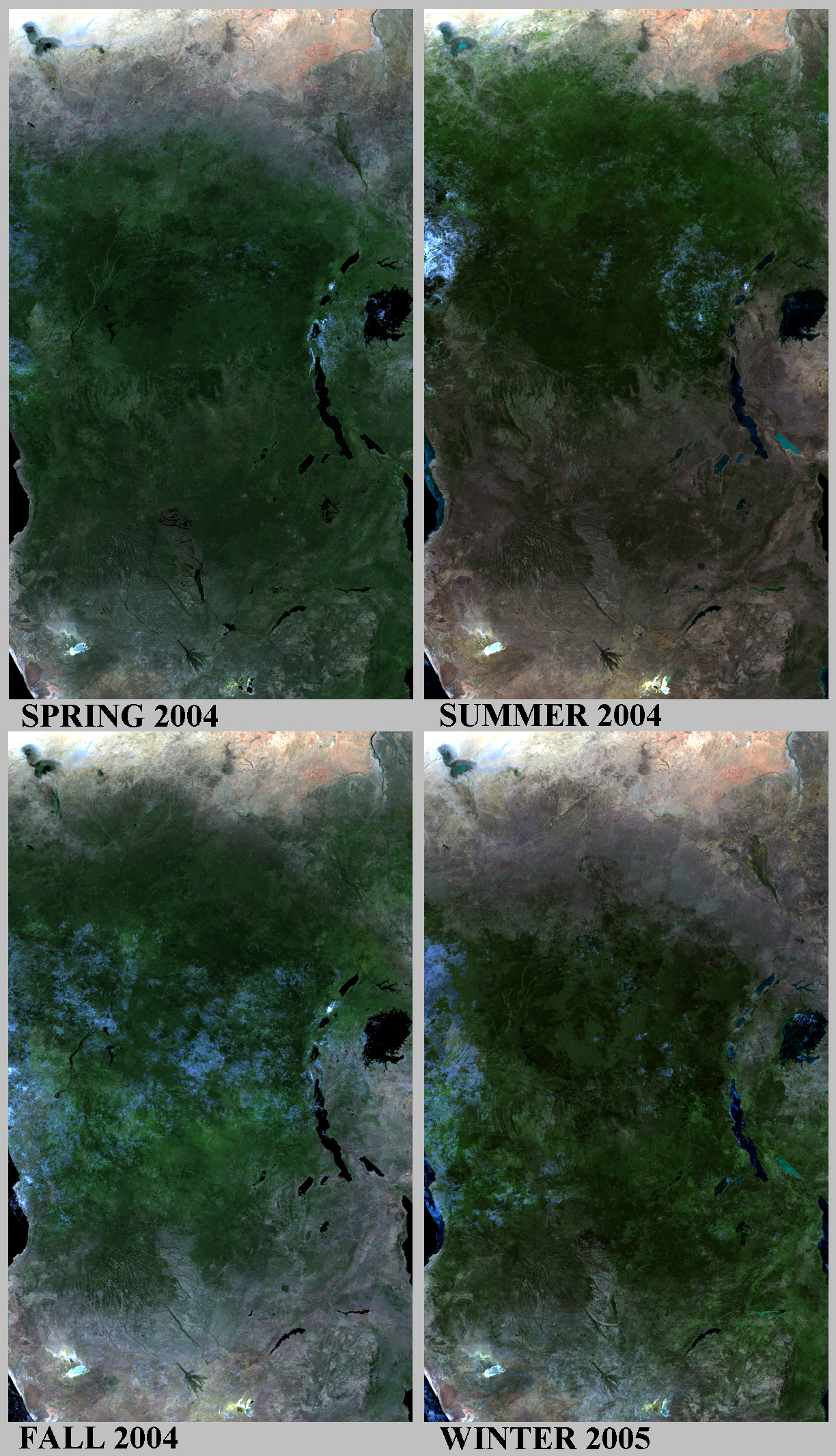 Africa Map Congo River%0A FIGURE     True color composites of the four seasons over Central Africa