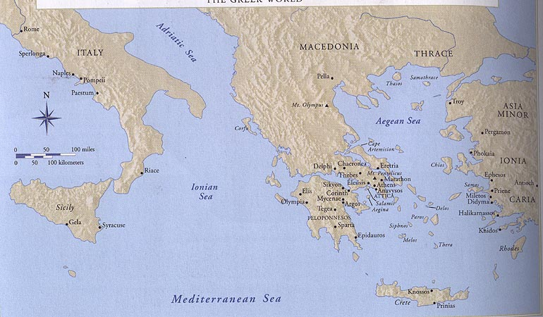 Map Greek World Ancient Greece on World Map