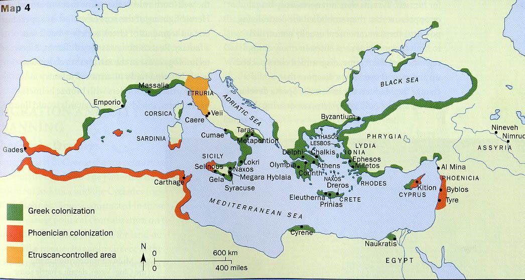 Řecké a fénické kolonizační území