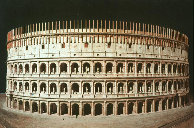 Flavian Amphitheater  The Colosseum   c  72-80 A D   Rome    Flavian Amphitheater Reconstruction