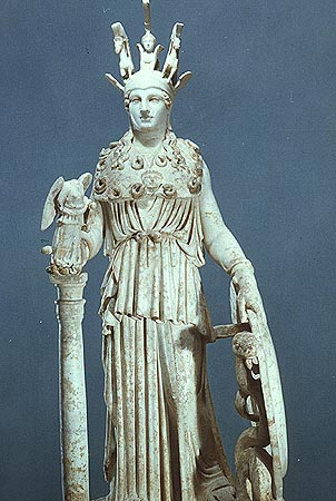 The cella of the Parthenon housed the chryselephantine statue of Athena Parthenos sculpted by Phidias and dedicated in 439 or 438 BC The appearance of this is known from other images The decorative stonework was originally highly coloured