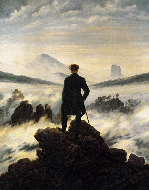 Caspar David Friedrich (1774-1840), Wanderer above the Mists, c. 1818.