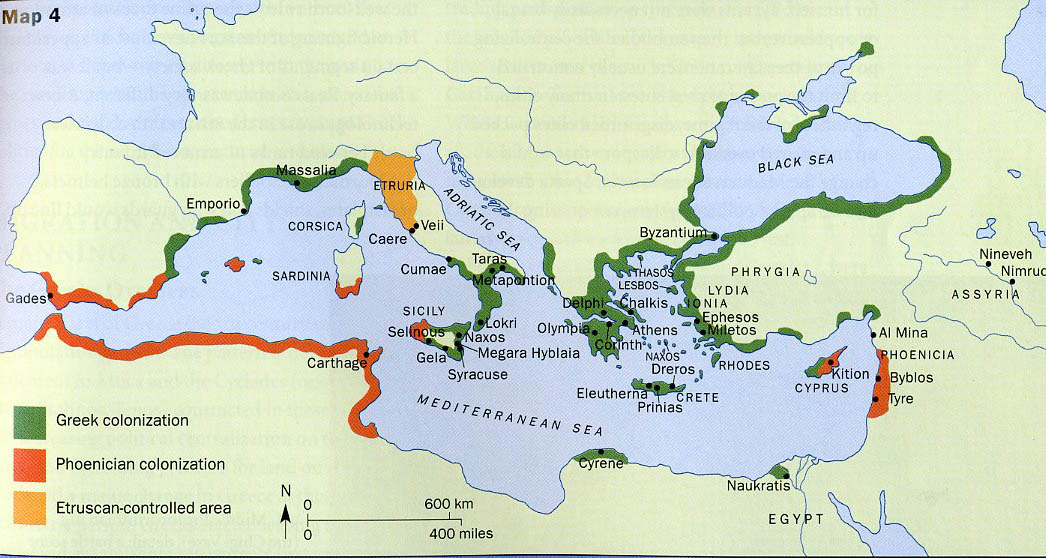 Persia And Greece - Greek colonization archaic period map