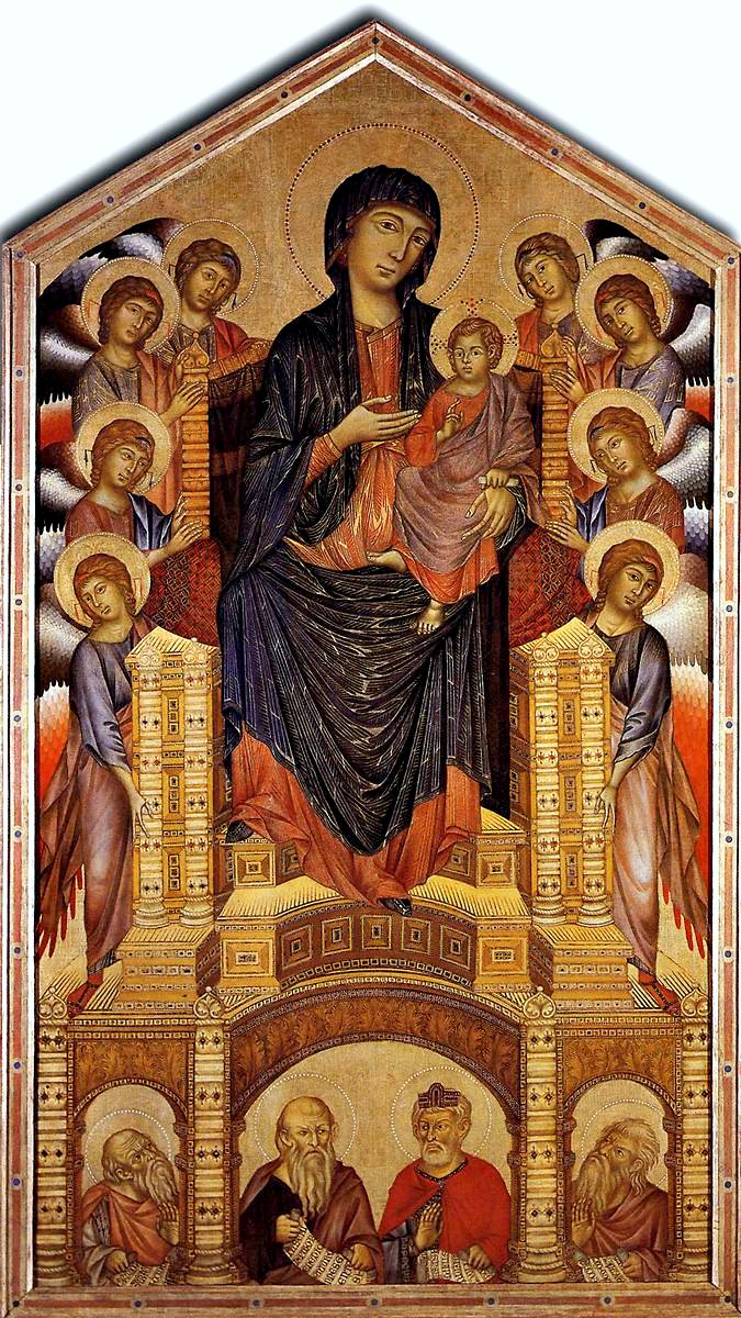 comparing the similarities and differences between cimabues enthroned madonna and child and giottos  Madonna enthroned, also known as the ognissanti madonna cimabue portrayed the same subject in his 1280 virgin and child enthroned.