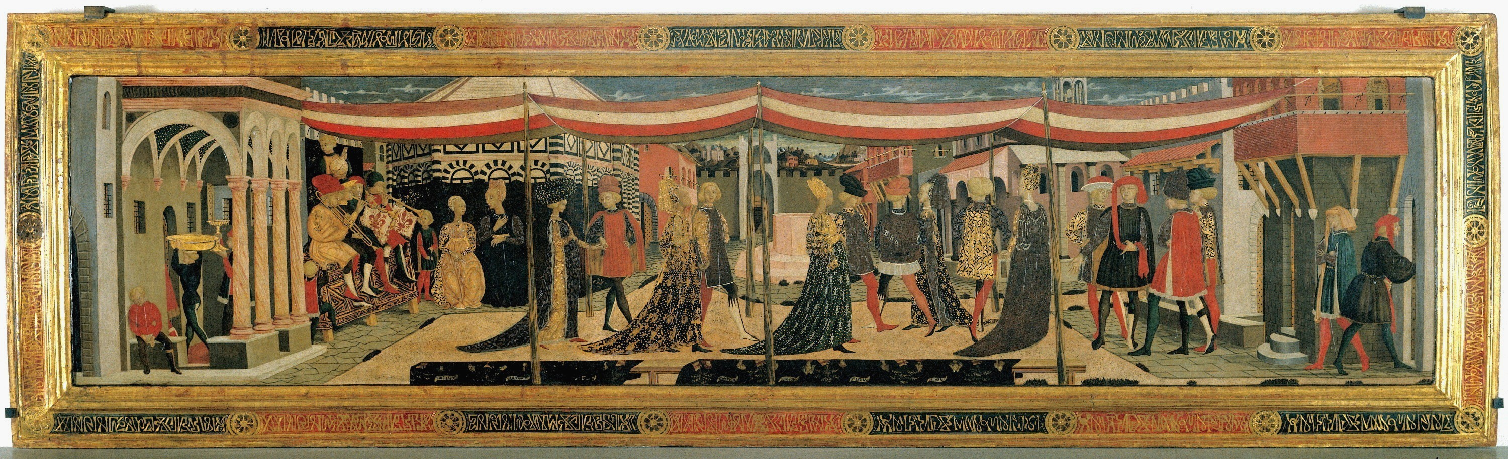 A Mid Fifth Century Painted Panel Probably To Decorate Bedchamber Depicts The Marriage Procession In Public Setting Of Piazza