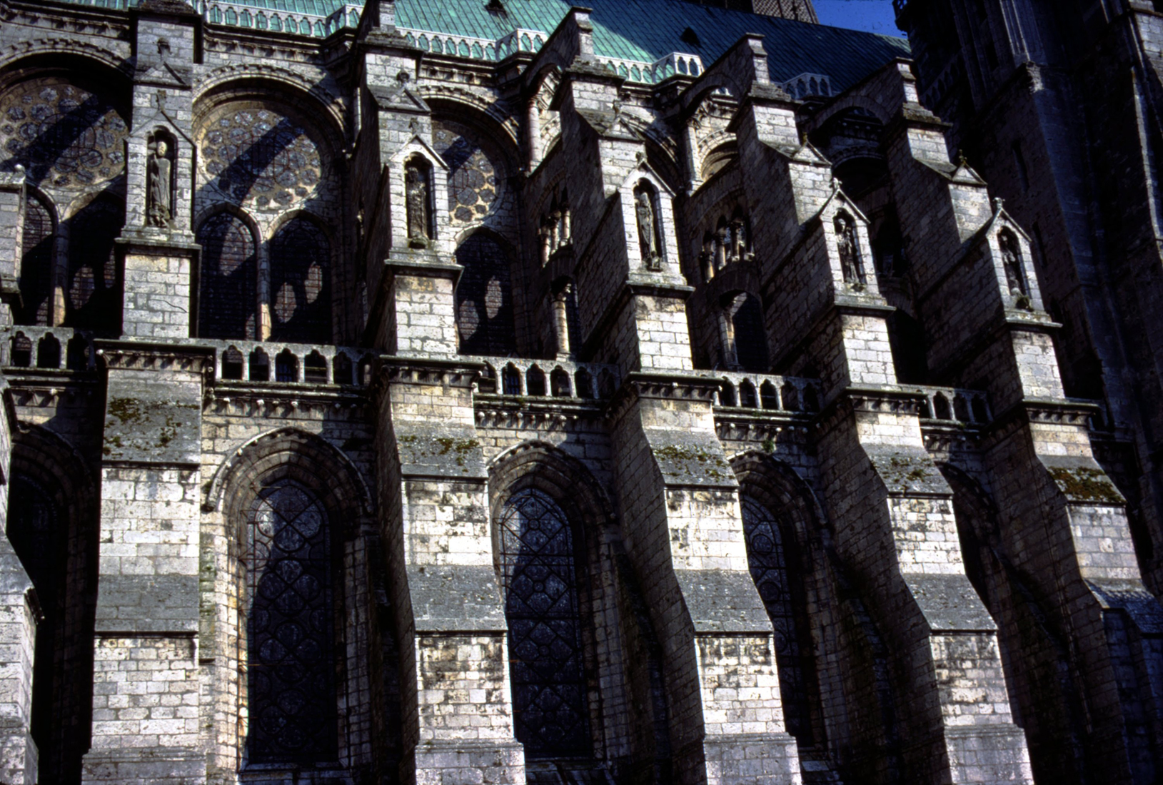 Flying Buttresses From The North Side Of Chartres Cathedral