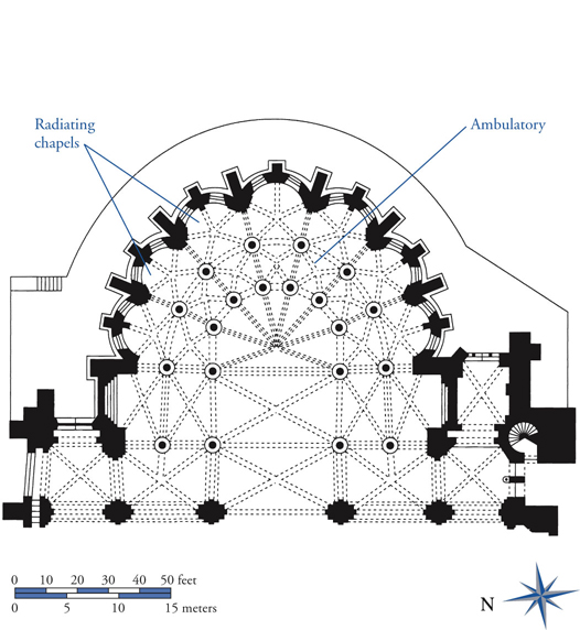 Plan of choir of St. Denis with ambulatory and radiating chapels ...