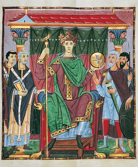 The coronation of Emperor Otto III, 999, from a Gospel book made for him