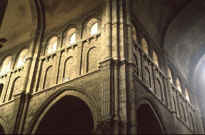 Detail Of The Interior Paray Le Monial Clerestory And Blind Arcades With Pilaster Strips