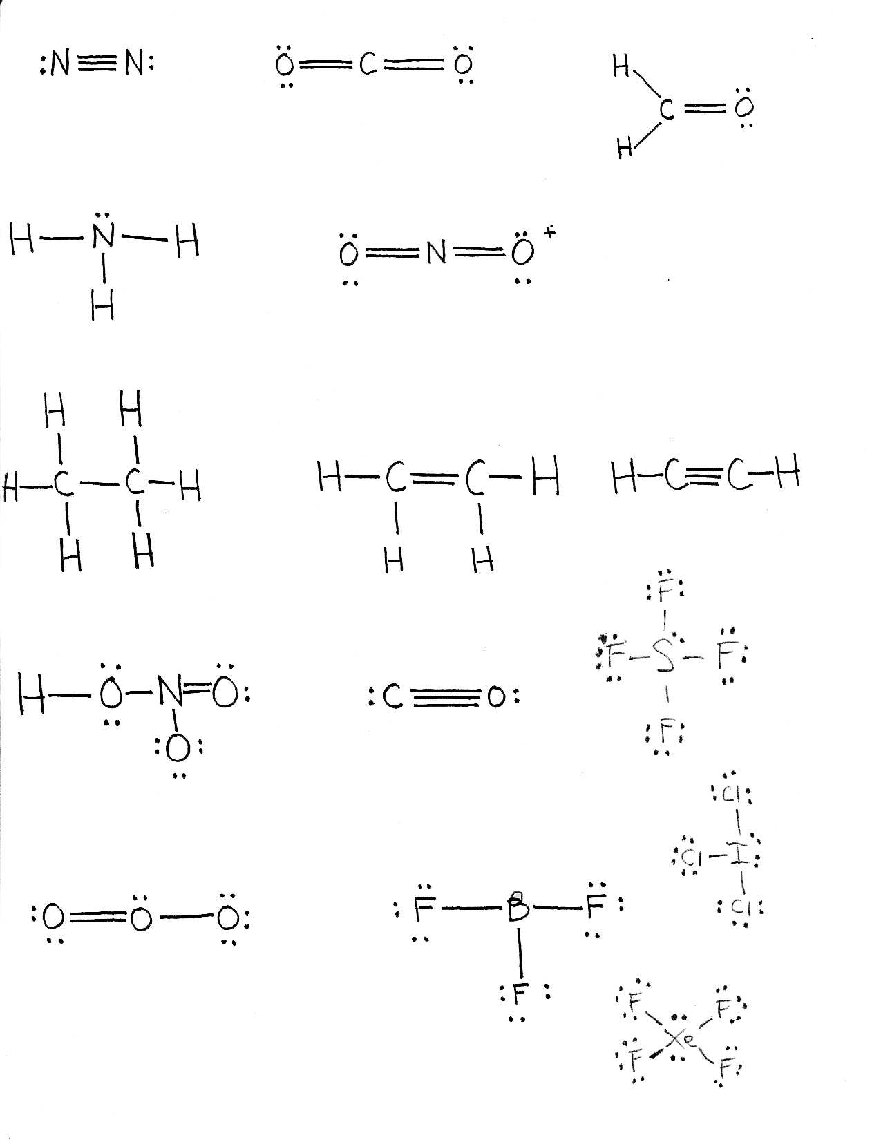 Chem111 SUNY Oneonta Vining – Lewis Structures Worksheet